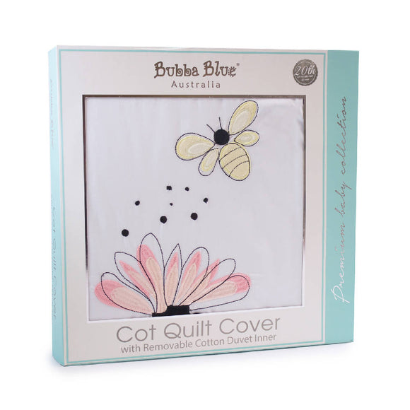 Bubba Blue Bee Beautiful Cot Quilt Cover with duvet removable inner - WERONE