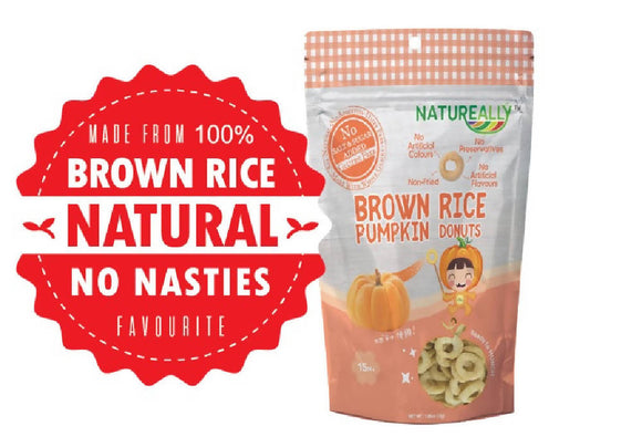 NATUREALLY™ Brown Rice On The Go Puff Pumpkin Donuts (No Sugar, Salt and MSG Added) 30g - WERONE