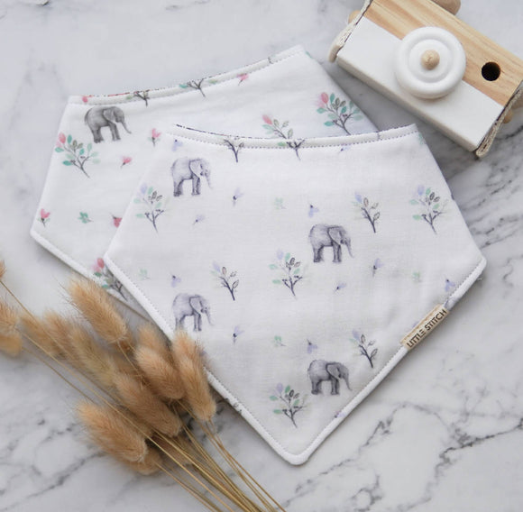 Little Stitch Double Gauze Elephant Bibdana