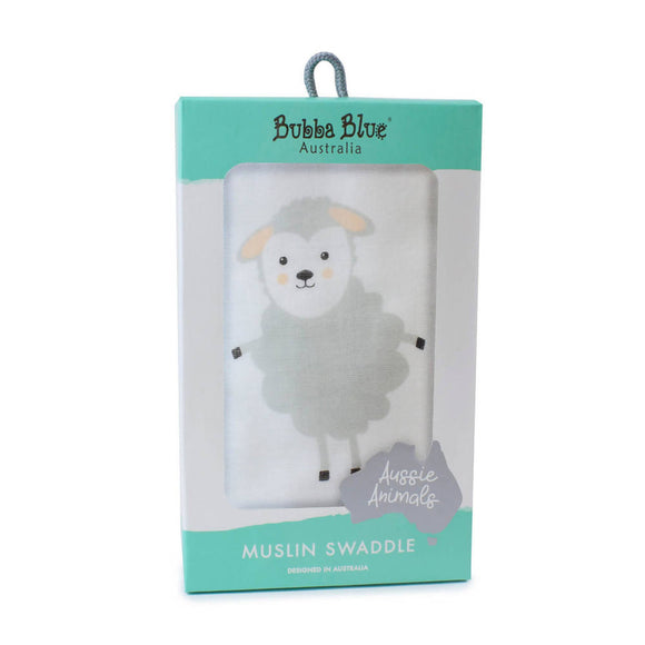 Bubba Blue Aussie Animals 'Sheep' Muslin Wrap