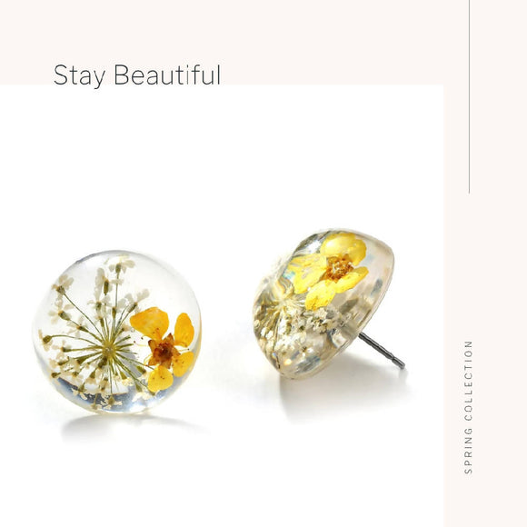 Yellow Dried Flowers Acrylic Earrings - WERONE