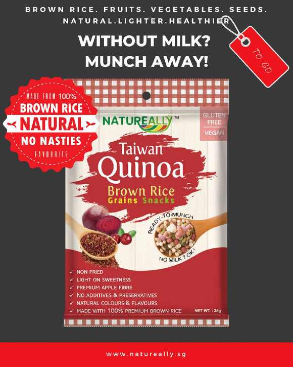 Gluten Free NATUREALLY™ Brown Rice and Red Quinoa Grains Snacks Cereal 35g - WERONE