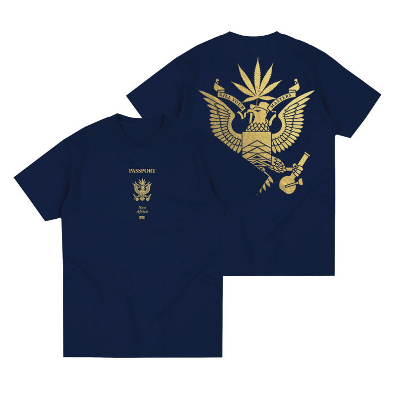 PASSPORT T-SHIRT (NAVY W/ GOLD FOIL)