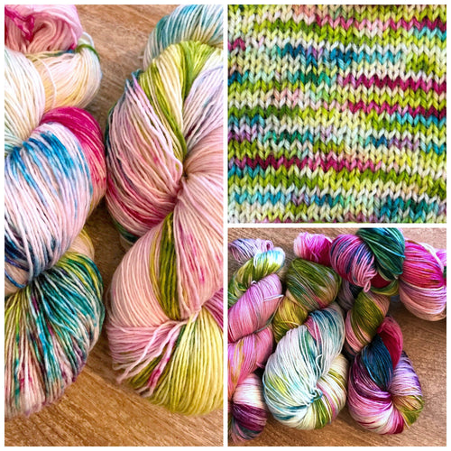 The Funky Ones - Hand Dyed Fingering - Superwash 80/20 Merino and Nylon - 3 PLY in Magenta, Green and Blright Blue