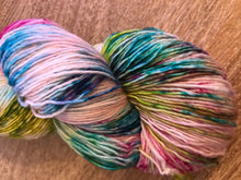 Load image into Gallery viewer, The Funky Ones - Hand Dyed Fingering - Superwash Single 100% Merino in Magenta, Green and Blright Blue