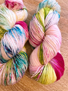 The Funky Ones - Hand Dyed Fingering - Superwash Single 100% Merino in Magenta, Green and Blright Blue