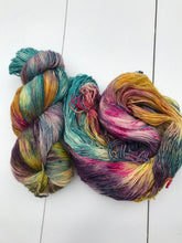 Load image into Gallery viewer, Shits and Giggles - Hand Dyed Fingering - Superwash Single 100% Merino in Blue, Magenta, Yellow and Purple - knitting and crochet yarn