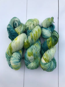 Above the Hills - Hand Dyed Fingering - SW Single 100% Merino in Greens and Chartreuse - knitting and crochet yarn
