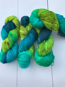 Burrard Inlet - Hand Dyed Fingering - SW 3 PLY 80/20 Merino and Nylon in Greens and Chartreuse - knitting and crochet yarn