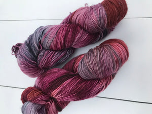 Trapeze Artist - Hand Dyed Fingering - SW Single 100% Merino in Maroons and Purples - knitting and crochet yarn
