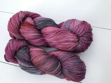 Load image into Gallery viewer, Trapeze Artist - Hand Dyed Fingering - SW 3 PLY 80/20 Merino and Nylon in Maroons and Purples - knitting and crochet yarn