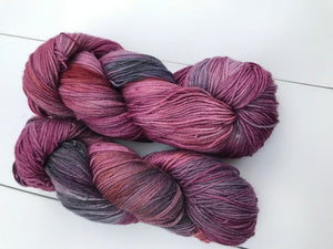 Trapeze Artist - Hand Dyed Fingering - SW 3 PLY 80/20 Merino and Nylon in Maroons and Purples - knitting and crochet yarn