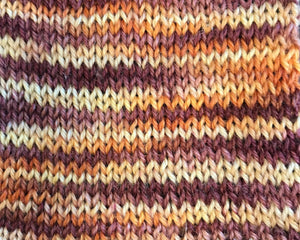 Samurai - Hand Dyed Fingering - SW 3 PLY 80/20 Merino and Nylon in Maroon, Orange and Yellow - knitting and crochet yarn