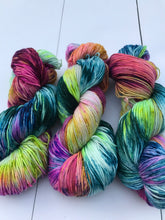 Load image into Gallery viewer, Burlesque - Hand Dyed Fingering - SW 3 PLY 80/20 Merino and Nylon in Greens, Blues, Pinks and Purples - knitting and crochet yarn