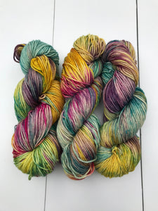 Shits and Giggles - Hand Dyed Worsted - SW 4 PLY 100% Merino in Blues, Magenta, Yellow and Purples - knitting and crochet yarn
