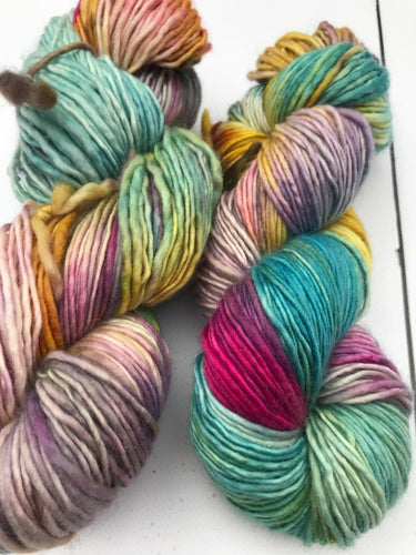 Shits and Giggles - Hand Dyed Worsted - Single - SW 100% Merino in Blue, Magenta, Yellow and Purple - knitting and crochet yarn