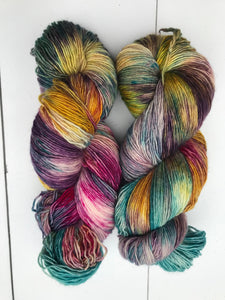 Shits and Giggles - Hand Dyed Fingering - Superwash Single 100% Merino in Blue, Magenta, Yellow and Purple - knitting and crochet yarn