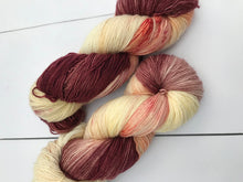 Load image into Gallery viewer, Samurai - Hand Dyed Fingering - SW Single 100% Merino in Maroon, Orange and Yellow - knitting and crochet yarn