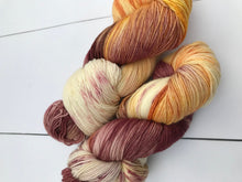 Load image into Gallery viewer, Samurai - Hand Dyed Fingering - SW 3 PLY 80/20 Merino and Nylon in Maroon, Orange and Yellow - knitting and crochet yarn