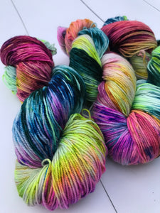 Burlesque - Hand Dyed Fingering - SW 3 PLY 80/20 Merino and Nylon in Greens, Blues, Pinks and Purples - knitting and crochet yarn