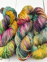 Load image into Gallery viewer, Shits and Giggles - Hand Dyed Worsted - SW 4 PLY 100% Merino in Blues, Magenta, Yellow and Purples - knitting and crochet yarn