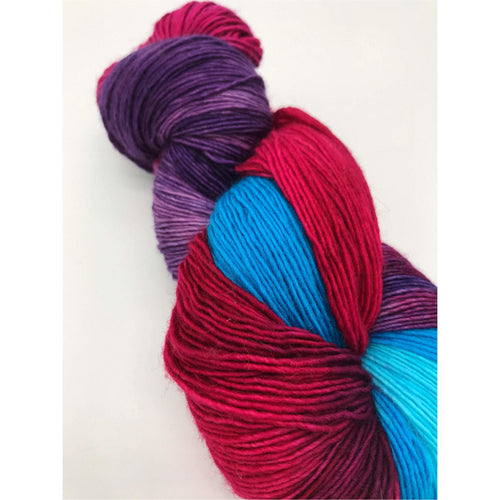 Tri Berry Souffle - Hand Dyed Fingering - Superwash Single 100% Merino in Purple, Blue and Red - knitting and crochet yarn