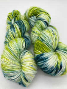 Over the Hill - Hand Dyed Worsted - Single - SW 100% Merino in Green and Blue for knitting and crochet yarn
