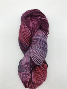 Trapeze Artist - Hand Dyed Worsted - SW 4 PLY 100% Merino in  Mauves and Purples - knitting and crochet yarn