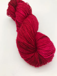 Compassion - Hand Dyed Fingering - Superwash Single 100% Merino in beautiful bright deep Red - knitting and crochet yarn