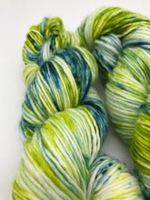 Load image into Gallery viewer, Over the Hill - Hand Dyed Worsted - Single - SW 100% Merino in Green and Blue for knitting and crochet yarn