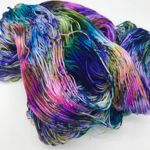Load image into Gallery viewer, Sarcasm - Hand Dyed Fingering - SW 3 PLY 80/20 Merino and Nylon in Blue, Green, Pink, Brown speckled - knitting and crochet yarn