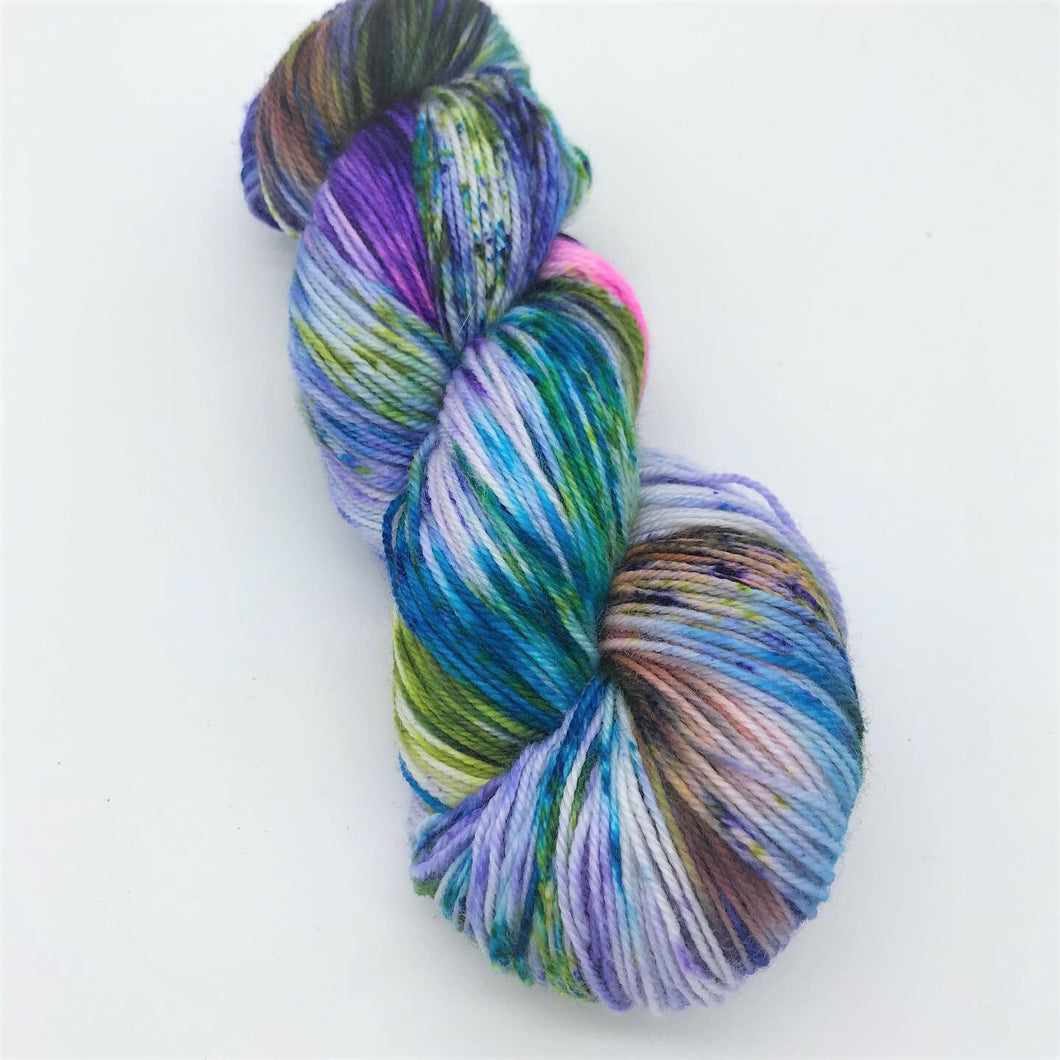 Sarcasm - Hand Dyed Fingering - SW 3 PLY 80/20 Merino and Nylon in Blue, Green, Pink, Brown speckled - knitting and crochet yarn