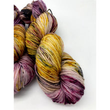 Load image into Gallery viewer, Desperate Times - Hand Dyed Fingering - SW 3 PLY 80/20 Merino and Nylon in purple, yellow, black and pink - knitting and crochet yarn