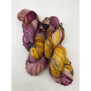 Desperate Times - Hand Dyed Fingering - SW 3 PLY 80/20 Merino and Nylon in purple, yellow, black and pink - knitting and crochet yarn
