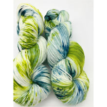 Load image into Gallery viewer, Over the Hill - Hand Dyed Fingering - SW 3 PLY 80/20 Merino and Nylon in Green, White and Spruce - knitting and crochet yarn