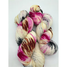 Load image into Gallery viewer, Wasn't Me! - Hand Dyed Fingering - SW 3 PLY 80/20 Merino and Nylon in Magenta, Black and dark Peach/Brown - knitting and crochet yarn