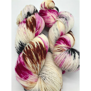 Wasn't Me! - Hand Dyed Fingering - SW 3 PLY 80/20 Merino and Nylon in Magenta, Black and dark Peach/Brown - knitting and crochet yarn