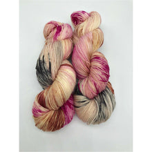 Load image into Gallery viewer, Oh No You Didn't! - Hand Dyed Fingering - SW 3 PLY 80/20 Merino and Nylon in Magenta, Black, Peach/Brown - knitting and crochet yarn