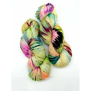 Stamp it no Erasies - Hand Dyed Fingering -  - 3 PLY - 80/20 SW Merino/ Nylon in green, pink, blue and black for knitting and Crochet
