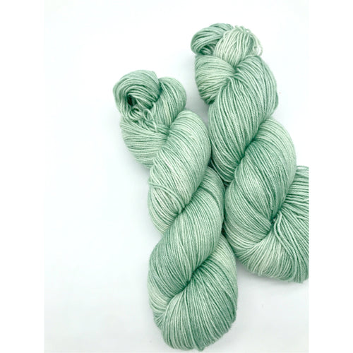 Smudge - Hand Dyed Fingering -  - 3 PLY - 80/20 SW Merino/ Nylon in light green for knitting and Crochet
