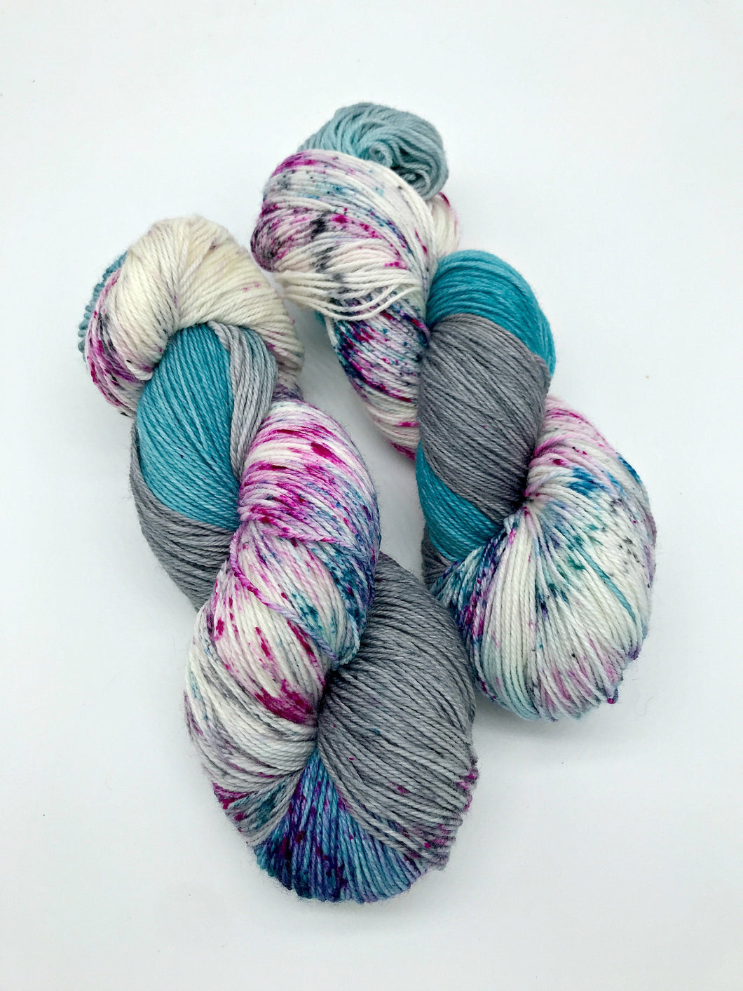 Night Drifter - Hand Dyed Fingering -  - 3 PLY - 80/20 SW Merino/ Nylon in blue, grey and speckled for knitting and Crochet