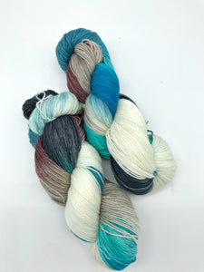 Haena Beach - Hand Dyed Fingering -  - 3 PLY - 80/20 SW Merino/ Nylon in blue, brown, black, white for knitting and Crochet