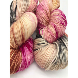 Oh No You Didn't! - Hand Dyed Fingering - SW 3 PLY 80/20 Merino and Nylon in Magenta, Black, Peach/Brown - knitting and crochet yarn