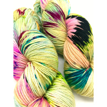 Load image into Gallery viewer, Stamp it no Erasies - Hand Dyed Fingering -  - 3 PLY - 80/20 SW Merino/ Nylon in green, pink, blue and black for knitting and Crochet