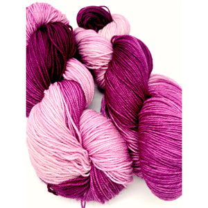 Glenora Grape - Hand Dyed Fingering - 3 PLY - 80/20 SW Merino/ Nylon in gradient purple for knitting and Crochet