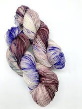 Load image into Gallery viewer, Stompin' in the berry patch - Hand Dyed Fingering -  - 3 PLY - 80/20 SW Merino/ Nylon in purple and mauve for knitting and Crochet