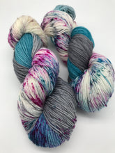 Load image into Gallery viewer, Night Drifter - Hand Dyed Fingering -  - 3 PLY - 80/20 SW Merino/ Nylon in blue, grey and speckled for knitting and Crochet