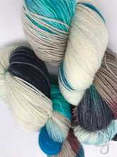 Load image into Gallery viewer, Haena Beach - Hand Dyed Fingering -  - 3 PLY - 80/20 SW Merino/ Nylon in blue, brown, black, white for knitting and Crochet