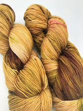 Load image into Gallery viewer, The End of Fall - Hand Dyed Fingering -  - 3 PLY - 80/20 SW Merino/ Nylon in gold, brown, green and a hint of pink for knitting and Crochet