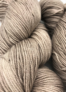 Mocha - Hand Dyed Fingering - 3 PLY - 80/20 SW Merino/ Nylon in light brown for crochet and knitting, toques, shawls, scarves, sock yarn